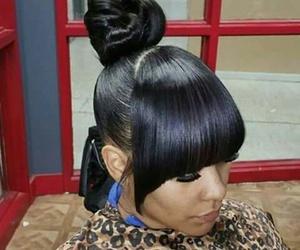 bangs, bun, and hair image