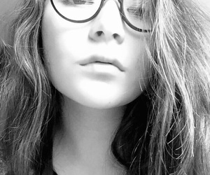 black and white, messy hair, and glasses image
