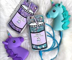 unicorn, blue, and iphone image