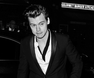 black and white and Harry Styles image