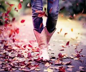 boots, leaves, and autumn image