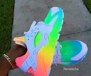 nike, shoes, and rainbow image