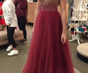 gold, prom dress, and red image