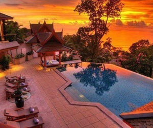 pool, sunset, and house image