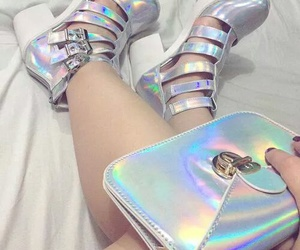 holographic, shoes, and aesthetic image