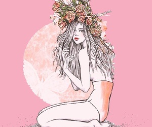 draw, flowers, and girl image