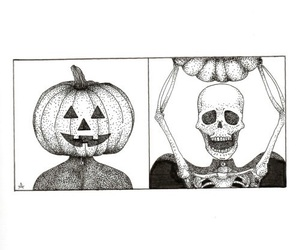 pumpkin, skeleton, and drawing image