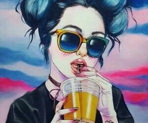 girl, wallpaper, and art image