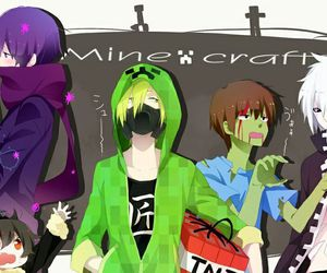 minecraft, anime, and creeper image
