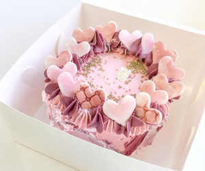 cake, hearts, and pink image