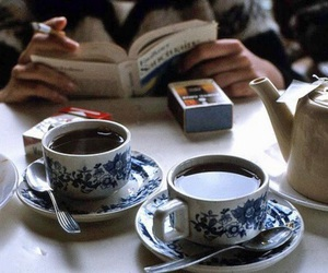 coffee, book, and tea image