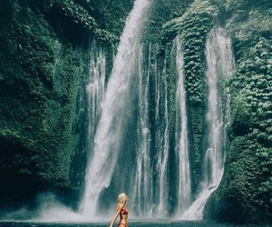 girl, water, and waterfall image