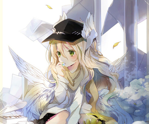 angel, anime girl, and wing image