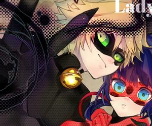 anime girl, Chat Noir, and ladybug image