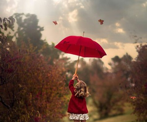 red, fall, and girl image
