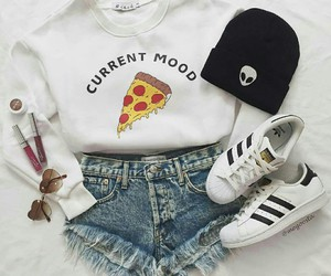 fashion, pizza, and adidas image