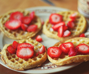 strawberry, waffles, and food image