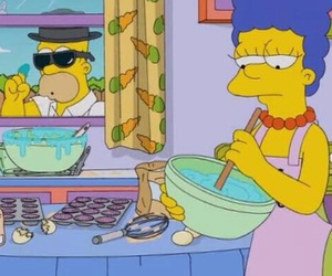 blue hair, homer, and marge image