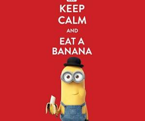 minions, banana, and keep calm image