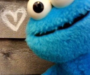 cookie monster, heart, and blue image