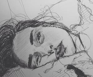 art, girls, and sketching image