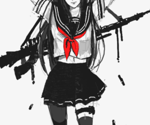 anime, gun, and black and white image