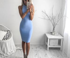 dress, blue, and girl image