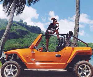 car, girl, and paradise image