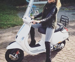 blond, girl, and Vespa image