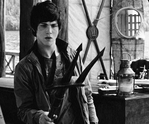 percy jackson, logan lerman, and black and white image