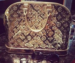 gold, bag, and Louis Vuitton image