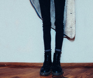 black clothes, dr martens, and boots image