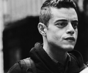 black and white, man, and rami malek image