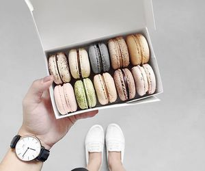 food, macaroons, and girl image