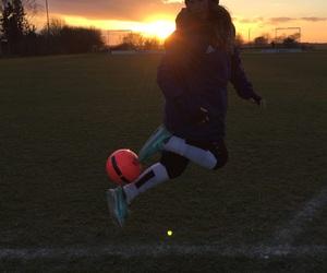 ball, football, and girl image