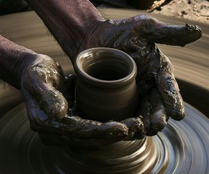 brown, hands, and pottery image