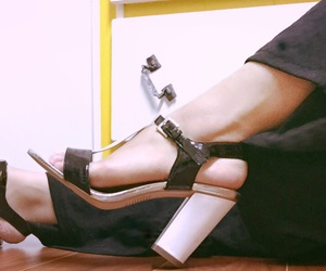 black and white, canadian, and high heels image