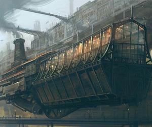 airship, digital art, and steampunk image