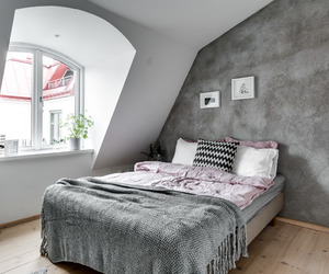 apartment, attic, and bedroom image