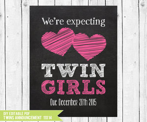 announcement, twins, and new baby image