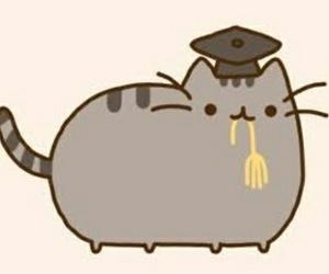 pusheen, cat, and graduation image