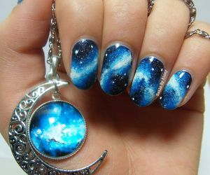 nails, blue, and galaxy image