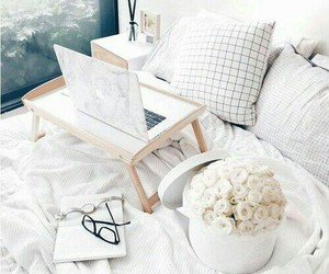 white, flowers, and bedroom image