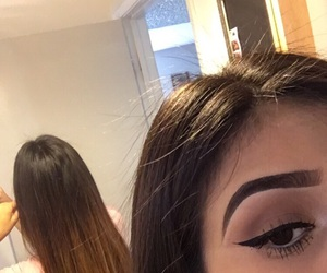 brown, eyebrows, and eyelashes image