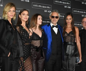 irina shayk, joan smalls, and andrea bocelli image