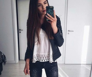 black, clothes, and leather jacket image