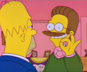 simpsons, homer, and flanders image
