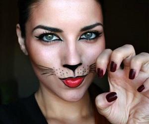 cat, Halloween, and makeup image