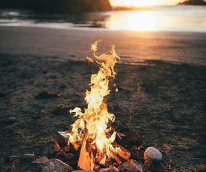 fire, beach, and summer image