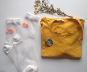 socks, yellow, and flowers image